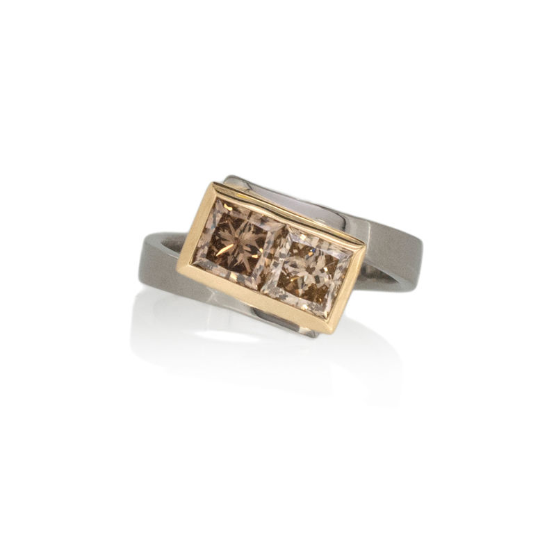 Light and dark champagne diamond crossover ring <br> - <i> commission only </i> - - product images