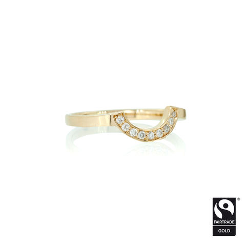 Shaped,wedding,band,with,micropave,diamonds,-,commission,only,Fairtrade Gold, hand-alloyed, handmade, bespoke, unique, alternative weddings