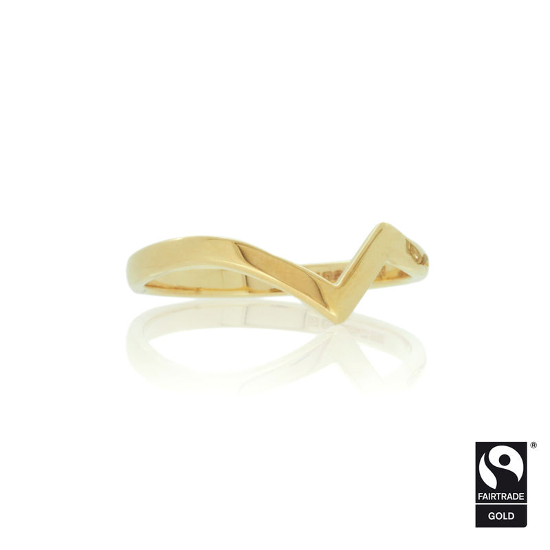 Shaped wedding band in Fairtrade Gold <br> - <i> commission only </i> - - product images  of