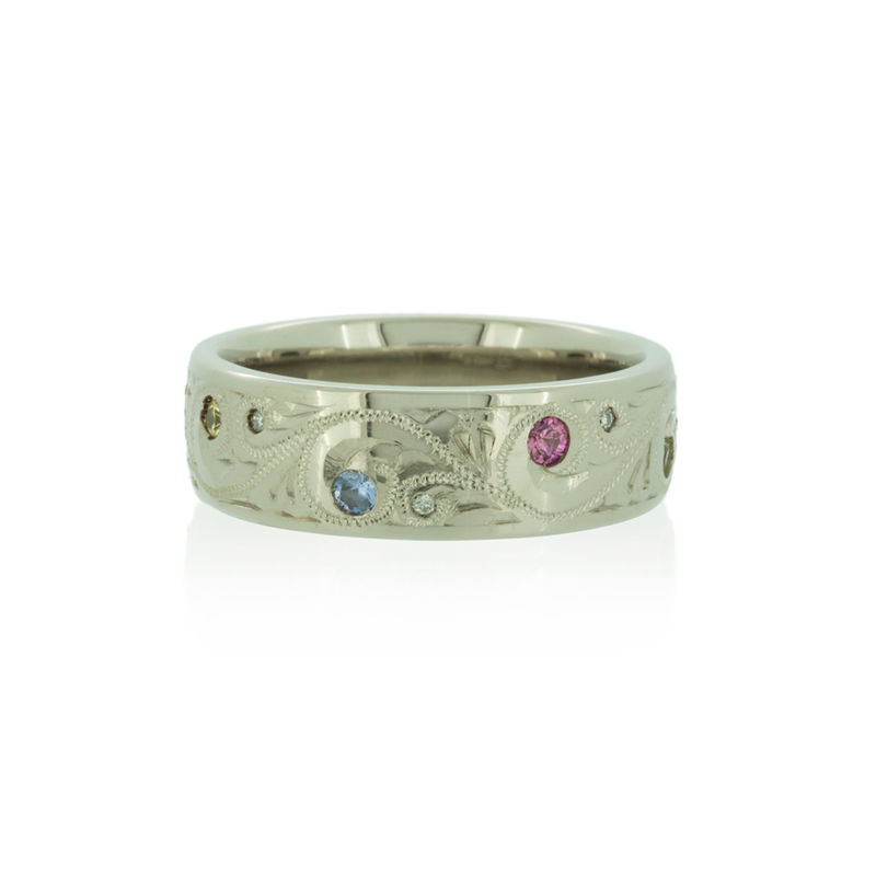 Hand Engraved Scroll Wedding Band With Shires Diamonds And 18k Fairtrade Gold Br