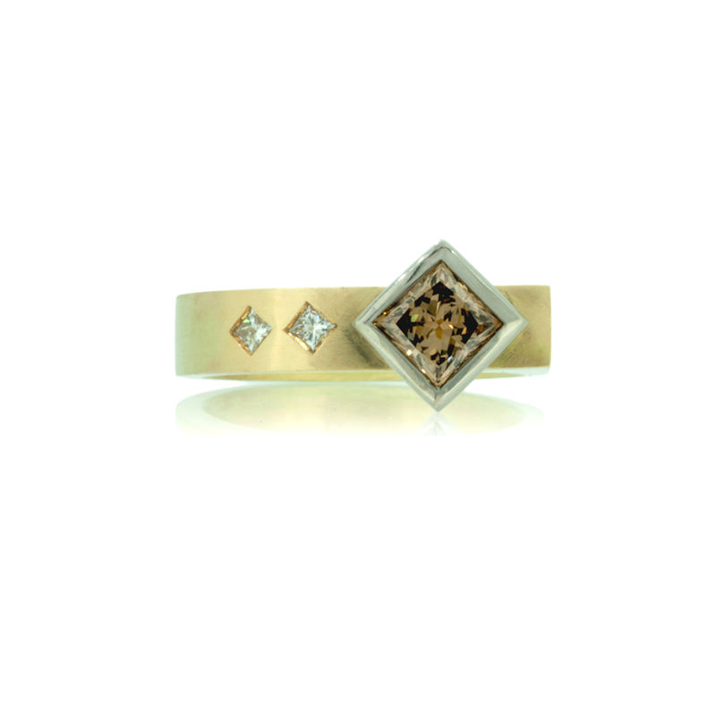 Asymmetrical ring in Fairtrade Gold with dark champagne princess cut diamond <i> - commission only - </i> - product images  of