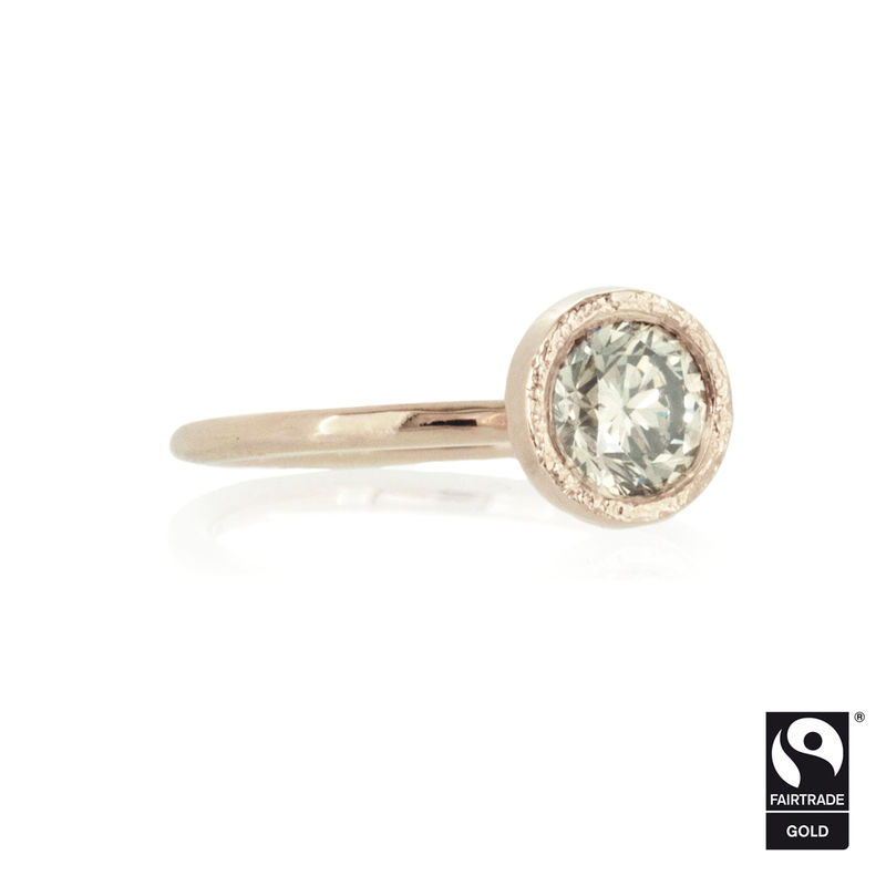 Champagne Diamond Solitaire Engagement Ring in Rose Fairtrade Gold <br>- <i> commission only </i> - - product images  of