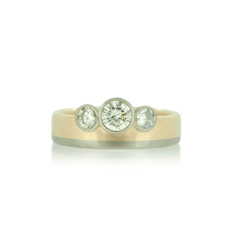 Trinity,diamond,ring,in,18k,yellow,and,white,gold,-,commission,only,engagement ring, unique engagement ring, alternative engagement ring, bespoke, commission, old cut diamond, Fairtrade Gold, Hexagon