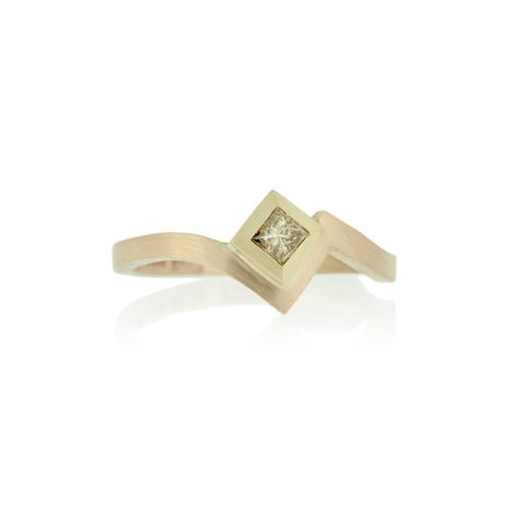 Zig,Zag,ring,with,princess,cut,champagne,diamond,-,commission,only,Fairtrade Gold, hand-alloyed, handmade, bespoke, unique, alternative weddings