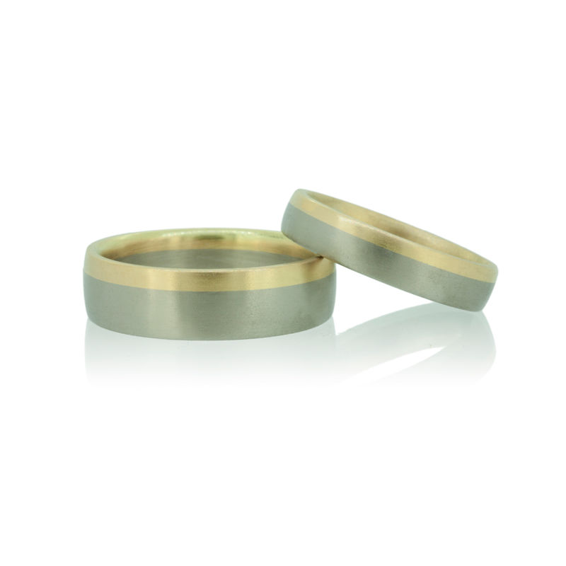 Saturnian Wedding bands in Fairtrade Gold <br> - <i> commission only </i> - - product images