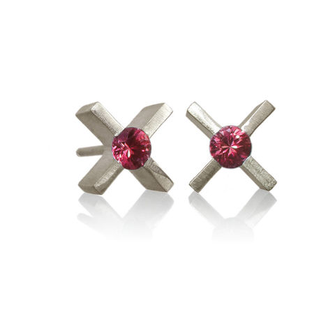 mini,'xx',earrings,in,silver,with,rubies,Sterling Silver earrings, contemporary jewellery, rubies