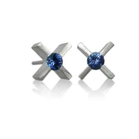 mini,'xx',earrings,in,silver,with,sapphires,Sterling Silver earrings, contemporary jewellery, sapphires