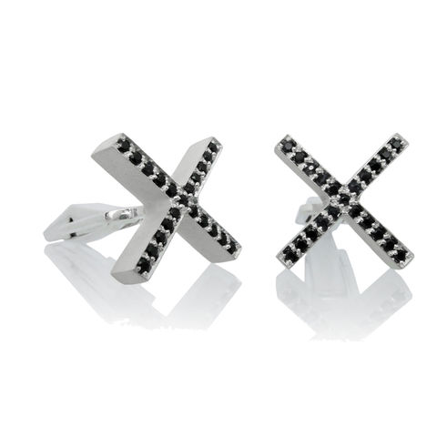 XX,Cufflinks,with,Black,Sapphires,Mens jewellery, contemporary jewellery, cufflinks, silver cufflinks, sterling silver cufflinks