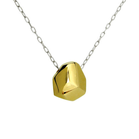 Asteroid,Necklace,-,yellow,gold,plate,Recycled sterling silver, contemporary jewellery, asteroid, ethical jewellery, rose gold