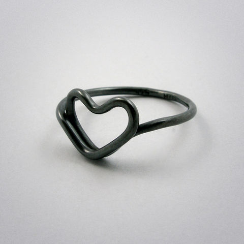ring,-,cœur,Silber,used,look, Herz, heart, coeur, 925, pour toi, Silber, AG, schwarz