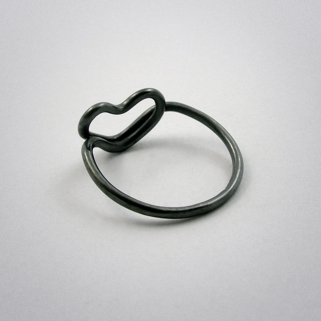 ring - cœur - Silber used look - product images  of