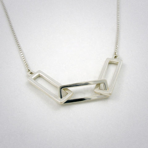 necklace,-,3,loops,MID,ag,Kette, necklace, 925 Sterling Silber, straight