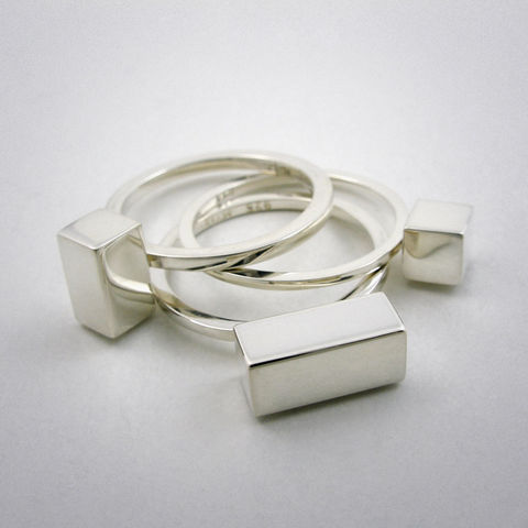 ring,set,-,straight,2-3-4,Ring, 925 Sterling Silber, straight, Gold, 750er Gelbgold, Set