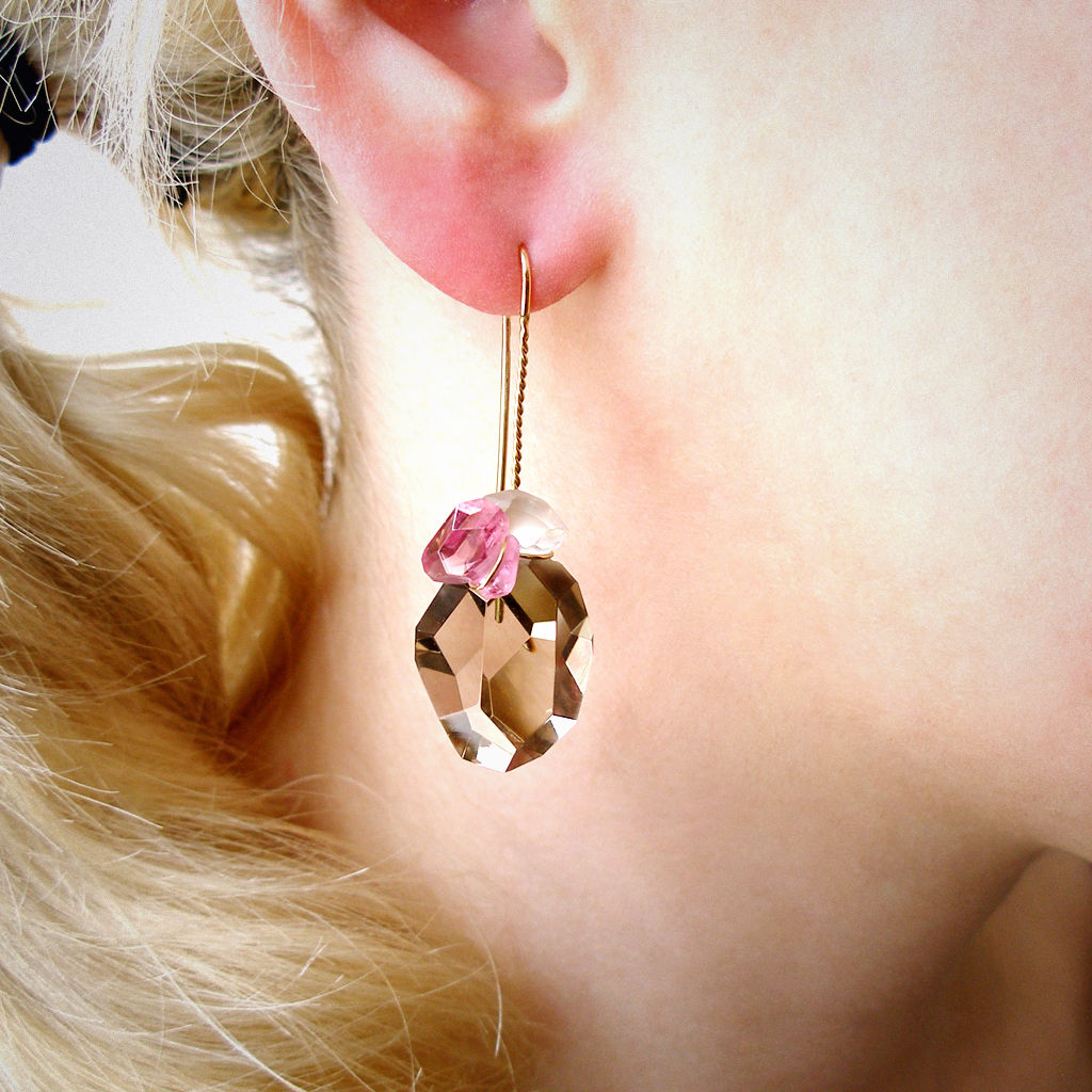ear pendant - Stein - Rauchquarz & rosa Turmalin - product images  of