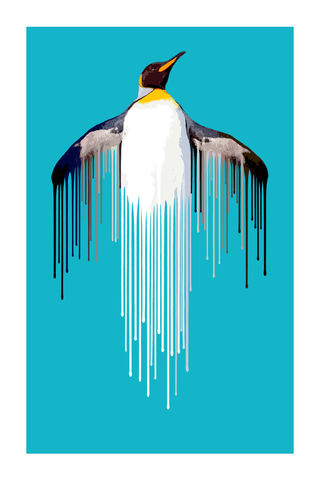 Penguin,-,Ice,Art, Print, Animals, Penguin, Blue, Ice, Bird, cute, drips, urban, splash, carl moore, dripster, flight, paint, painterly, affordable art, limited edition, art, print, art prints, signed edition