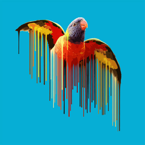 Parrot,-,Sky,Blue,fineprint, limited edition, art edition, animal print, artwork, london art, animal art, Parrot, sky blue