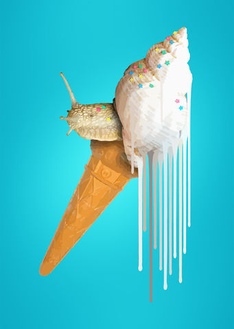 Snail,Scream,Sprinkles,Limtied edition art print of Ice Cream with sprinkles, hand embellished using metallic paints. Art for walls. Snail Ice Cream.