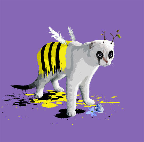 Bumblecat,mini print, Bumble cat, animals pretending, the cat who wanted to be a bee,