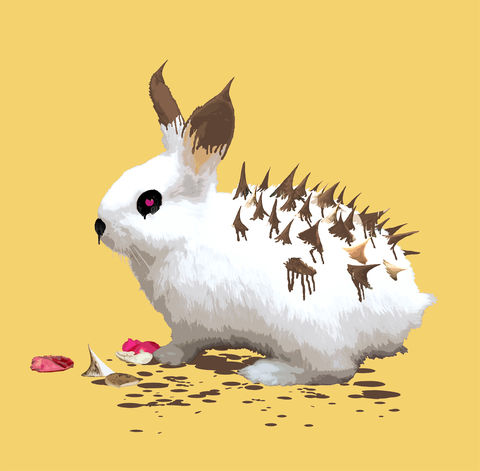 Bunnyhog,mini print, Bunny, rabbit, hedgehog, animals pretending, the bunny who wanted to be a hedgehog
