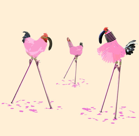 Chickingos,mini print, Chickingos, animals pretending, the chickens who wanted to be flamingos, chickens