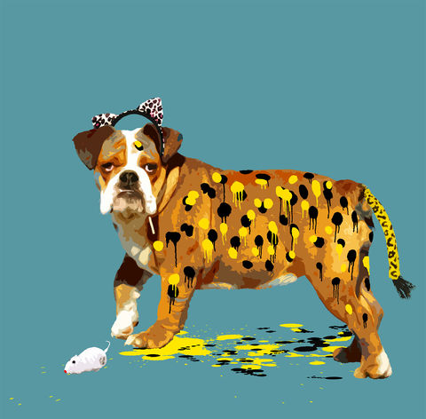 Dogard,mini print, Dogard, animals pretending, the dog who wanted to be a leopard, carl moore