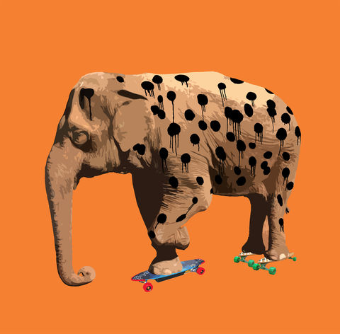 Eletah,mini print, Eletah, animals pretending, the elephant who wanted to be a cheetah, carl moore, elephant