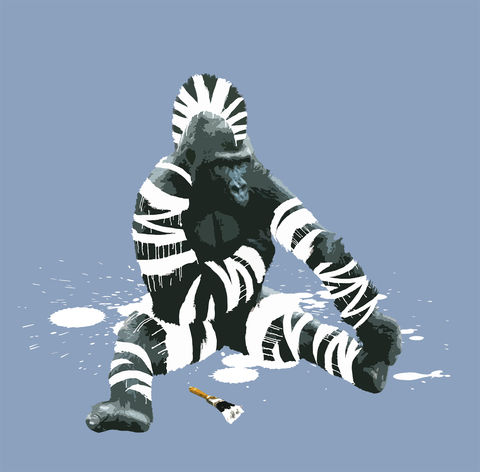 Gorillebra,mini print, Gorillebra, animals pretending, the Gorilla who wanted to be a Zebra, carl moore, gorilla