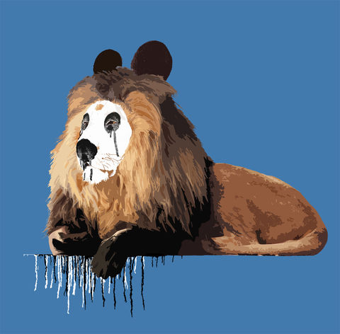 Pandelion,mini print, Pandelion, animals pretending, the Lion who wanted to be a Panda, carl moore, Lion