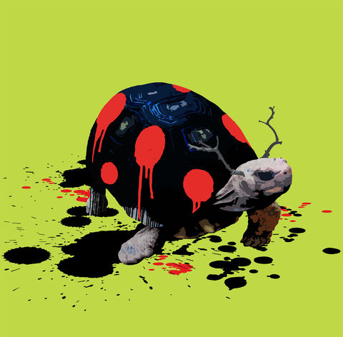 Tortybug,mini print, Tortybug, animals pretending, the Tortoise who wanted to be a Ladybird, carl moore, Tortoise, ladybird