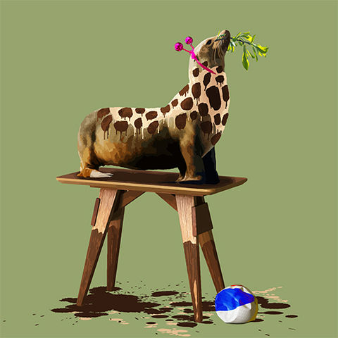 The,Seal,Who,Wanted,to,be,a,Giraffe,Limited edition print of The Seal Who Wanted to be a Giraffe by Carl Moore