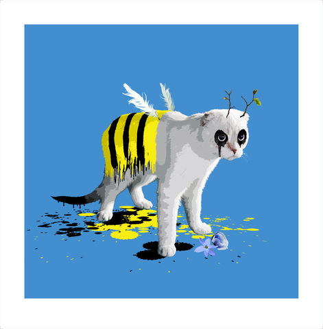 The,Cat,Who,Wanted,to,be,a,Bee,Art, Print, Animals, Cat, Bee, Blue