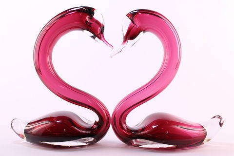 Cranberry,Heart,Swans,Cranberry Glass, Cranberry Glassware, Glass Swan, Heart Swans, Hand blown Glass, Art Glass