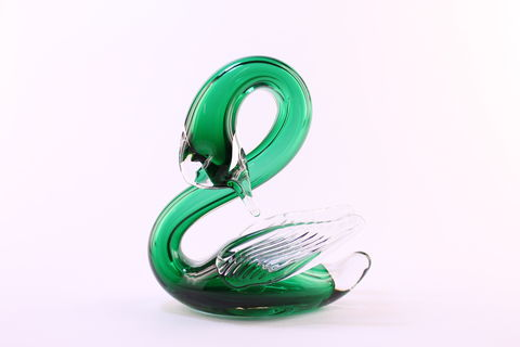 Green,Sleeping,Swan,Green Sleeping Swan, Green Glass Swan, Winged Glass Swan, Sleeping Glass Swan