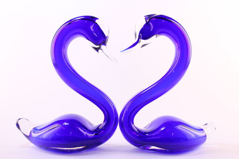 Blue,Heart,Swans,Cobalt Blue Glass, Blue Glass, Blue Glassware, Glass Swan, Heart Swans, Hand blown Glass, Art Glass