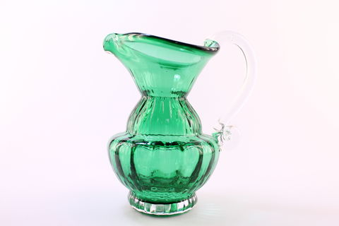 Green,Mini,Vertical,Jug,Green Glass, Green Glassware, Glass Jug, Miniature Vertical Jug, Hand blown Glass, Art Glass