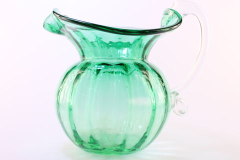 Green,Low,Water,Jug,with,Crystal,Handle,Green Glass, Green Glassware, Glass Pitcher, Low Water Pitcher, Hand blown Glass, Art Glass