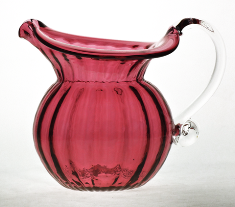 Cranberry,Low,Water,Jug,with,Crystal,Handle,Cranberry Glass, Cranberry Glassware, Glass Pitcher, Low Water Pitcher, Hand blown Glass, Art Glass