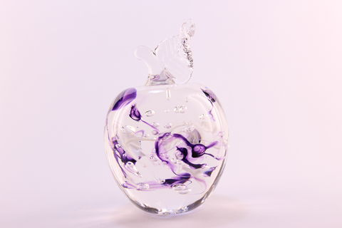 Purple,Nouveau,Apple,-,Leaf,Up,Amethyst Purple Glass, Purple Apple, Glass Apple, Hand blown Apple