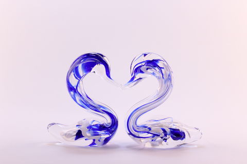 Blue,Mini,Nouveau,Heart,Swans,Blue Glass, Blue Heart Swans, Mini Blue Swans, Mini Blue Heart Swans