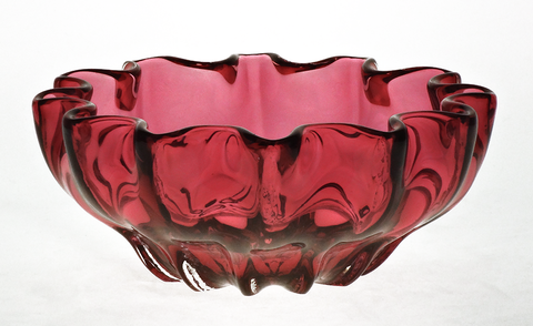 Cranberry,Mini,Ruffled,Bowl,Cranberry Glass, Cranberry Glassware, Glass Bowl, Ruffled Mini Bowl, Hand blown Glass, Art Glass