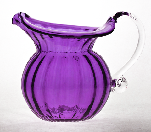 Purple,Low,Water,Jug,with,Crystal,Handle,Purple Glass, Purple Glassware, Glass Pitcher, Low Water Pitcher, Hand blown Glass, Art Glass