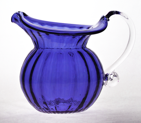 Blue,Low,Water,Jug,with,Crystal,Handle,Blue Glass, Blue Glassware, Cobalt Blue Glass, Cobalt Blue Glassware, Glass Pitcher, Low Water Pitcher, Hand blown Glass, Art Glass
