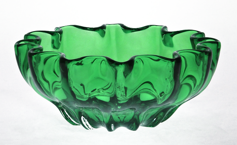 Green,Mini,Ruffled,Bowl,Purple Glass, Purple Glassware, Glass Bowl, Ruffled Mini Bowl, Hand blown Glass, Art Glass