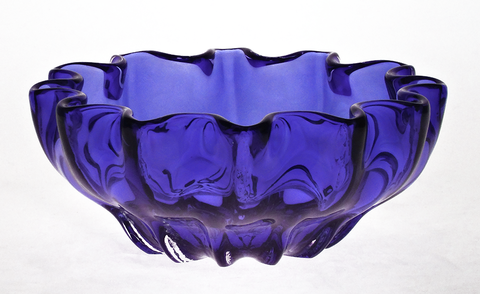 Blue,Mini,Ruffled,Bowl,Blue Glass, Blue Glassware, Cobalt Blue Glass, Cobalt Blue Glassware, Glass Bowl, Ruffled Mini Bowl, Hand blown Glass, Art Glass