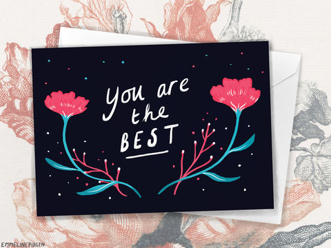 You,Are,The,Best!,-,Mother's,Day,/,Easter,Thank,Greeting,Card,Paper_Goods,card,greeting_card,greetings_card,you_are_the_best,friendship,love,floral,illustrated,illustration,cute,mother's_day,mum,easter