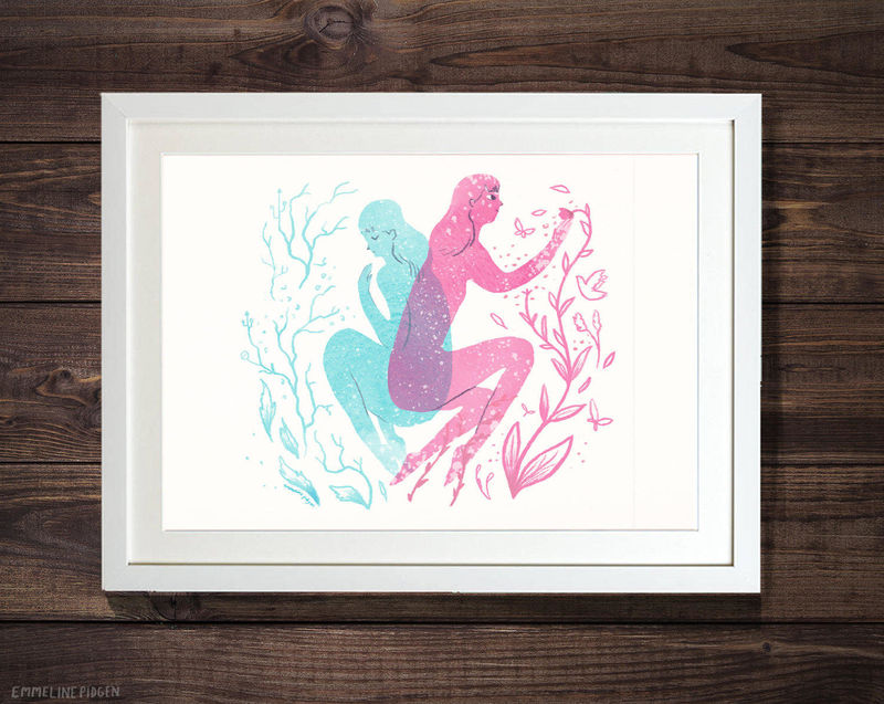 Biology - Pink & Blue Illustrated Spring Easter Art Print - product images