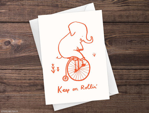 Keep,On,Rollin',-,Cute,Illustrated,Elephant,Greeting,Card,Paper_Goods,card,greeting_card,greetings_card,friendship,illustrated,cute,bicycle,elephant,encouragement,congratulations,keep_on_rollin,bike,mental_health