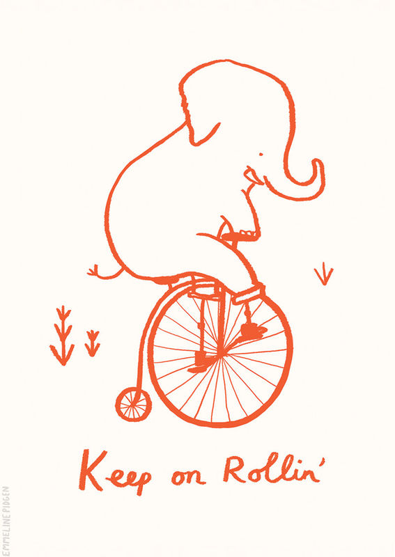 Keep On Rollin'  - Cute Illustrated Elephant Greeting Card - product images  of