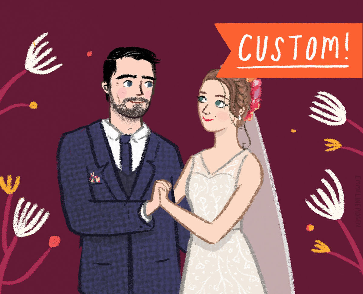 Custom Couples Portrait - Original Watercolour or Digital Portrait Illustration for Engagement, Anniversary, Weddings & Valentine's Gifts! - product images  of