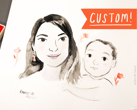 Bespoke,Family,Portrait,-,Original,Watercolour,or,Digital,Illustration,for,Mother's,Day,,Father's,a,special,gift!,Art,Painting,family_portrait,portrait,original_art,watercolour,illustration,origintal_portrait,family,painting,child,mother's_day,father's_day,gift,custom